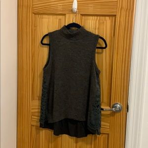 Sleeveless Sweater with detailed green lace back